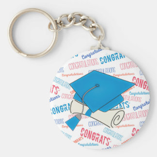 Dodger Blue Graduation Cap and Diploma Keychain