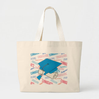 Dodger Blue Graduation Cap and Diploma Large Tote Bag