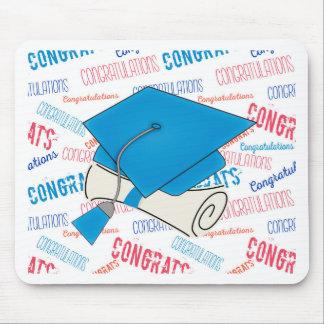 Dodger Blue Graduation Cap and Diploma Mouse Pad