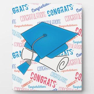 Dodger Blue Graduation Cap and Diploma Plaque