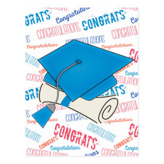 Dodger Blue Graduation Cap and Diploma Postcard
