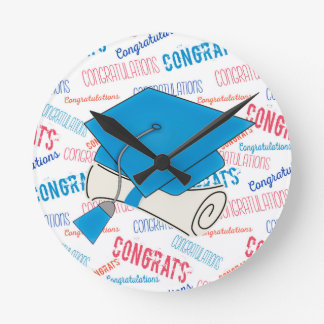 Dodger Blue Graduation Cap and Diploma Round Clock