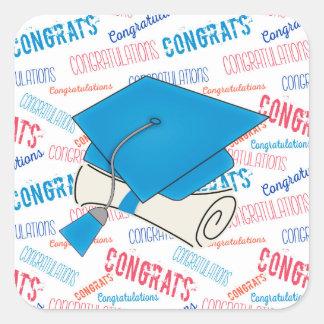 Dodger Blue Graduation Cap and Diploma Square Sticker