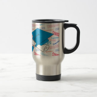 Dodger Blue Graduation Cap and Diploma Travel Mug