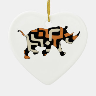 Dodo Duds (Endangered Species) Black Rhino Double-Sided Heart Ceramic Christmas Ornament