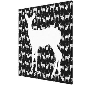 Doe a Deer on Black Wrapped Canvas