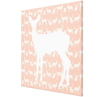 Doe a Deer on Pink Wrapped Canvas