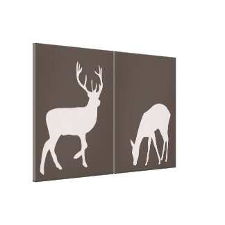 Doe and Buck Deer Couple Woodland Forest Canvas Canvas Print