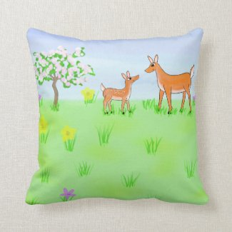 Doe and Fawn Pillow