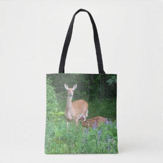 Doe and Nursing Fawn Spring Garden Tote Bag