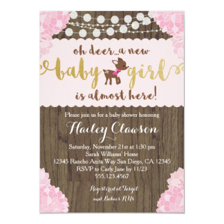 Doe Deer Rustic Girl Baby Shower Invitation