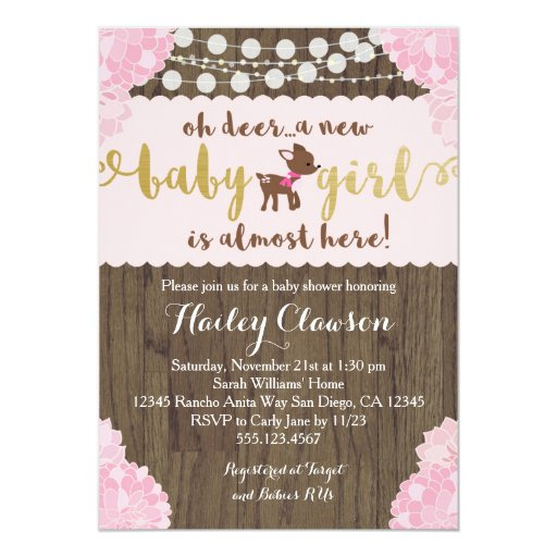 Doe Deer Rustic Girl Baby Shower Invitation