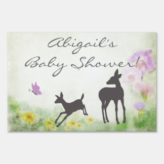 Doe, Fawn and Butterfly Deer Baby Shower Sign