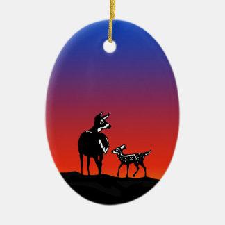 Doe - Fawn Twilight Logo Ceramic Ornament
