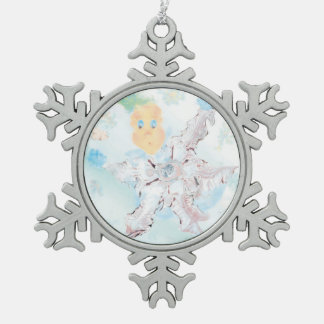 Doer of snow. Option 2 Snowflake Pewter Christmas Ornament