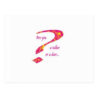 doer or talker question Pink Postcard