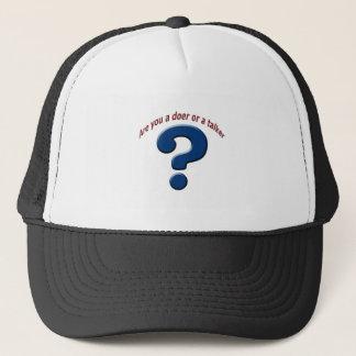 doer talker question mark trucker hat