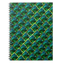 Does green seem emerald, under gold grating? notebook
