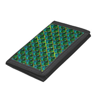 Does green seem emerald, under gold grating? trifold wallet