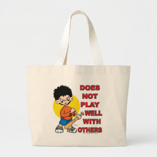 Does not play well with others! large tote bag