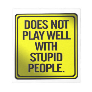 Does Not Play Well With Stupid People Note Pad