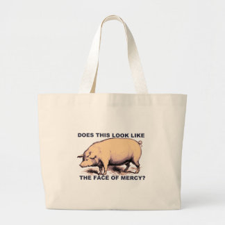 Does This Look Like The Face of Mercy?  Grumpy Pig Large Tote Bag