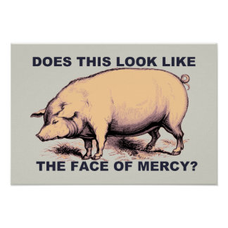 Does This Look Like The Face of Mercy?  Grumpy Pig Poster