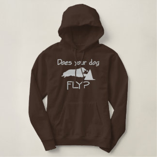 Does Your Dog Fly Women's Dark Embroidered Hoodie