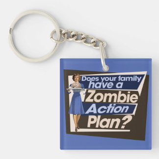 Does your family have a Zombie Action Plan Double-Sided Square Acrylic Keychain