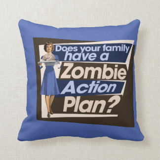 Does your family have a Zombie Action Plan Throw Pillow
