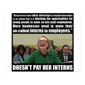Doesn't Pay Her Interns Postcard