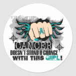 Doesn't Stand A Chance Ovarian Cancer Classic Round Sticker