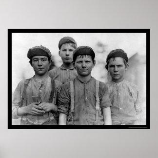Doffer Boys in Macon GA 1909 Print