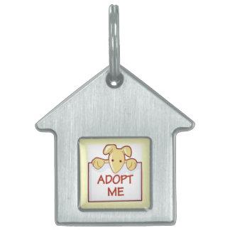 dog511 ADOPT ME RESCUE DOGS ANIMALS CAUSES CARTOON Pet Tag