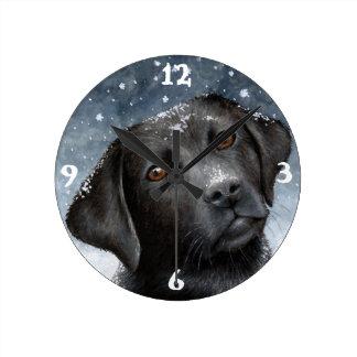 Dog 100 black Labrador Round Clock