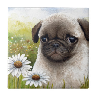 Dog 114 Puppy Pug Small Square Tile