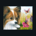 """Dog 123 Papillon dog with Butterflies Canvas Print<br><div class=""""desc"""">This is an image from one of original art paintings by canadian Lucie Dumas.</div>"""