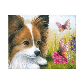 Dog 123 Papillon dog with Butterflies Canvas Print
