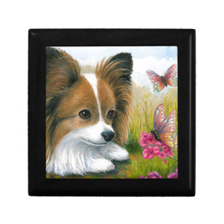 Dog 123 Papillon dog with Butterflies Gift Box