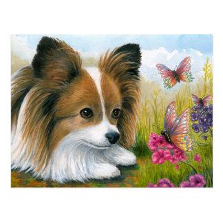 Dog 123 Papillon dog with Butterflies Postcard