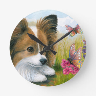 Dog 123 Papillon dog with Butterflies Round Clock