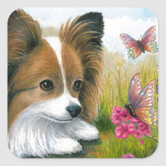 Dog 123 Papillon dog with Butterflies Stickers