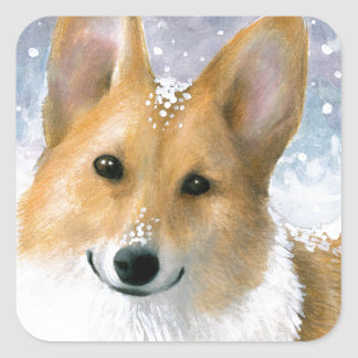 Dog 126 Corgi Square Sticker
