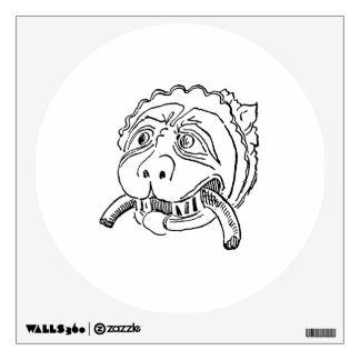 Dog 2 door knocker lion vintagej agged drawing.png wall sticker