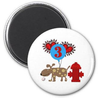 Dog 3rd Birthday 2 Inch Round Magnet
