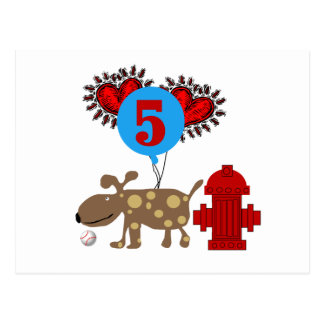 Dog 5th Birthday tshirts and Gifts Post Card