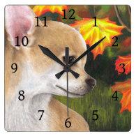 Dog 84 Chihuahua Fall Autumn Square Wall Clock
