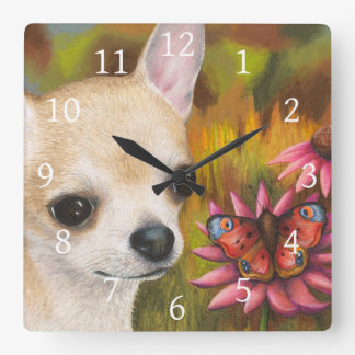 Dog 85 Chihuahua Butterfly Square Wall Clock