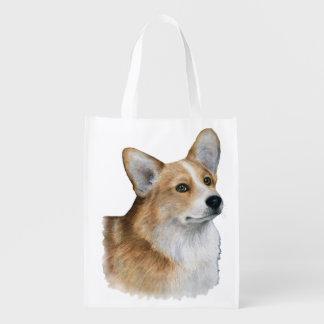 Dog 89 Corgi white background Reusable Grocery Bag