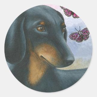 Dog 93 Dachshund Round Sticker